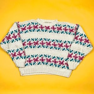 Vtg 90s LL Bean Retro Floral Chunky Knit Sweater
